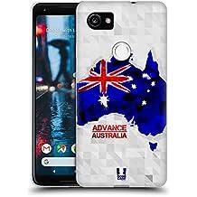 Head Case Designs Australia Geometric Maps Soft Gel Case for Google Pixel 2 XL