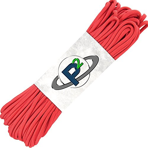 Paracord Planet 100' Hanks Parachute 550 Cord Type III 7 Strand Paracord Top 40 Most Popular Colors (Imperial Red)