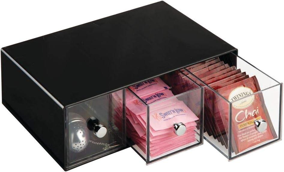 blanc /édulcorant infusion sucre et plus mDesign boite de rangement cuisine avec 3 tiroirs casier de rangement pour sachets de th/é tisane dosette de caf/é boite /à th/é en plastique