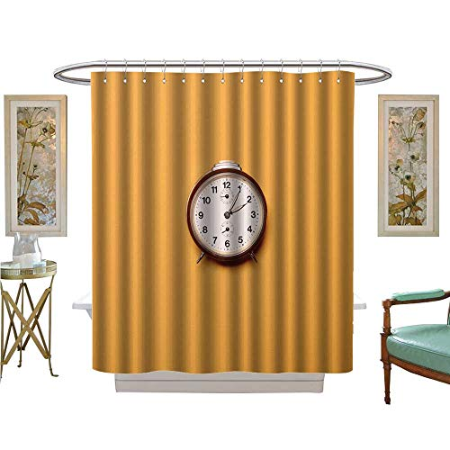 luvoluxhome Shower Curtains with Shower Hooks Vintage Brown Alarm Clock on Yellow ocher Background Trendy Minimal Flat Lay Concept Patterned Shower Curtain W72 x L96