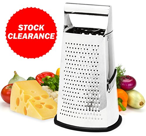 Stainless Steel Cheese Grater - 4-Sided Food Box Grater - Best Vegetable Grater with Parmesan Shredder