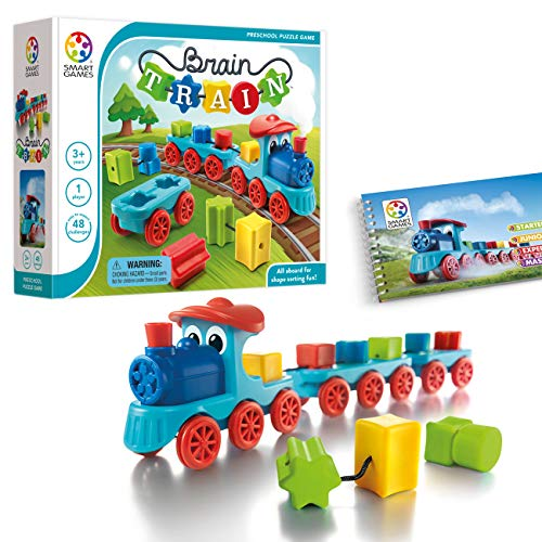 SmartGames Brain Train Board Game: A Puzzle Game & Brain Game + Toy Train for Kids, Cognitive Skill and Motor Skill Building Challenges, Ages -
