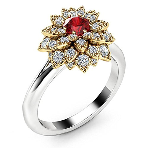 Promise Ring, Muranba Sterling Silver Floral Round Diamond Gold Sunflower Ring for Women (Silver 03, 7) (Promise Floral Diamond Ring)