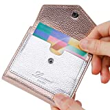 Lavemi RFID Blocking Small Compact Mini Bifold Credit Card Holder Leather Pocket Wallets for Women with Quick access ID Slot(1-Envelope Champagne Gold)