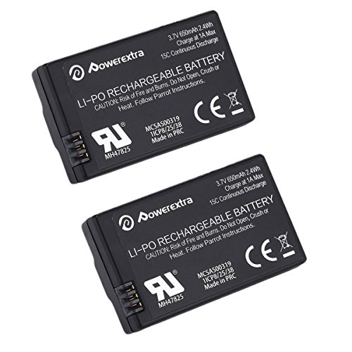 Powerextra 2 Pack 3.7V 650mAh LiPo Battery for Par…