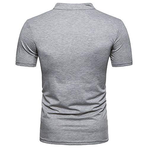 Manches T Gris Business Courtes Unie Repassage Chemise Hommes shirt À Casual Couleur Amlaiworld Sans AnOPgw