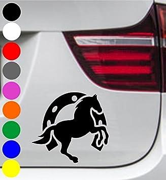 Wdesigns Autoaufkleber Pferd Pony Hufeisen Tuning Aufkleber Sticker Decal 11x10cm Auto