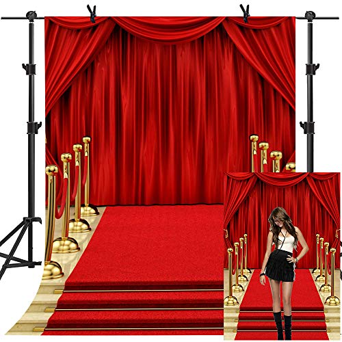 MME Backdrop 5x7ft Red Curtain Background Hollywood Red Carpet Stage Upgrade Material Seamless Vinyl Photo Studio Props NANME479