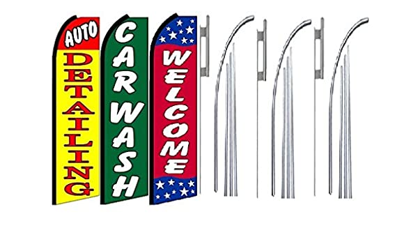 Two Full Sleeve Swooper Flags w// Poles /& Spikes OPEN 24 HOURS Light Blue Red Yellow