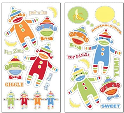 Amazon.com: Fun Sock Monkey Wall Decal Stickers: Home & Kitchen