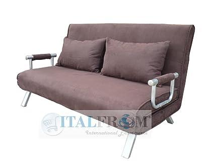 ITALFROM - Sofá Cama de Dos plazas (155 x 69 x 83 cm) Color marrón