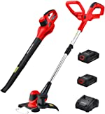 PowerSmart PS76115A 20V Lithium-Ion Cordless String Trimmer/Edger and Blower Combo Kit