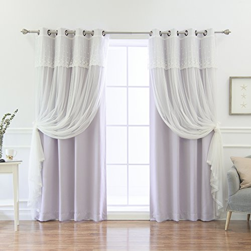 Best Home Fashion Mix & Match Tulle Sheer with Attached Valance & Solid Blackout Curtain Set – Stainless Steel Nickel Grommet Top – Lilac – 52
