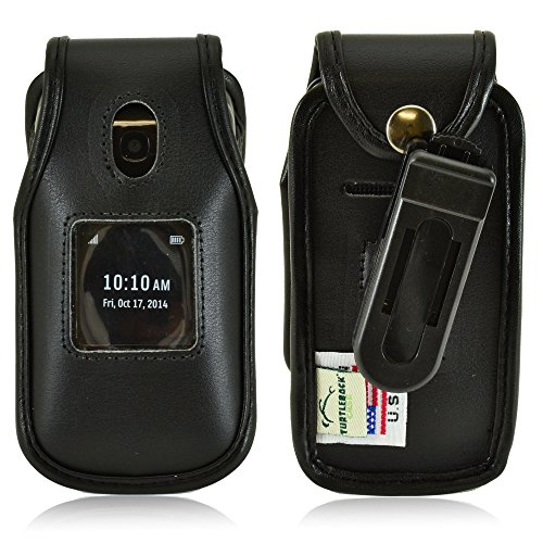 T-mobile Fitted Leather Case - Turtleback Belt Clip Holster Fitted Case Fits Alcatel Onetouch Retro Flip Phone, Black Leather, Made in USA