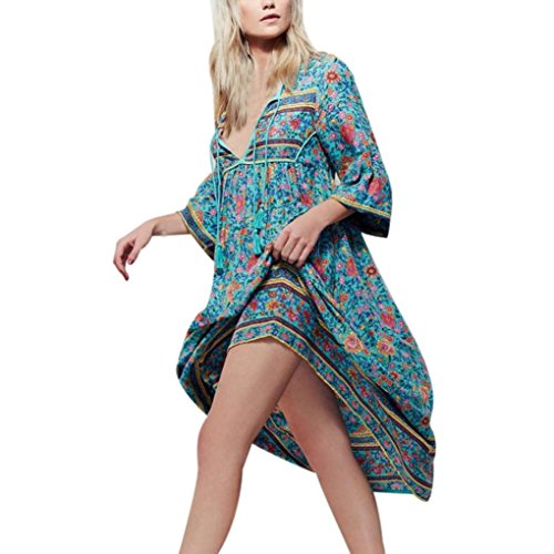 TOTODWomen Loose Floral Print Long Sleeve Natural Boho Vintage Dress Ladies Evening Party Long Maxi Dress (XL, Blue) (Bubble Dress Layered Neck)