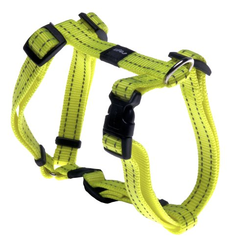 Reflective Adjustable Dog H Harness for Small to Medium Dogs; matching collar and leash available, Yellow