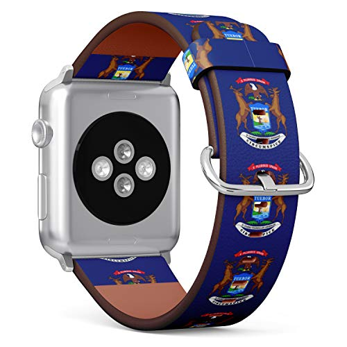 (State Flag of Michigan) Patterned Leather Wristband Strap for Apple Watch Series 4/3/2/1 gen,Replacement for iWatch 42mm / 44mm Bands ()