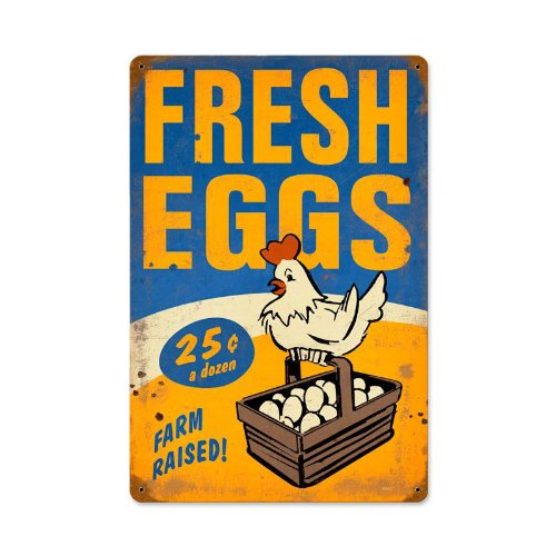 Victory Vintage Home - Fresh Eggs Food and Drink Vintage Metal Sign - Victory Vintage Signs