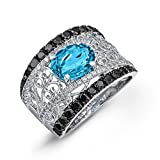 Victoria Kay 1 1/4ct TDW Black and White Diamond Ring with Blue Topaz Center in Sterling Silver (J-K, I2-I3) (6.5)