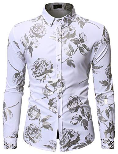 - HOP Fashion Mens Rose Print Shirt Luxury Gold Design Long Sleeve Slim Fit Button Down Shirts HOPM336-White-M