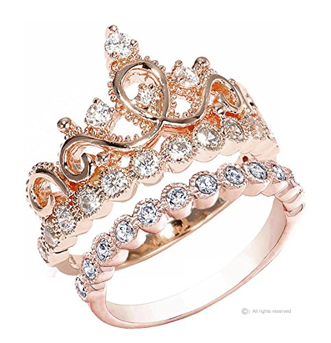 Sterling Silver 14mm Rose Ring (Guliette Verona Sterling Silver Princess Crown Ring and Band Set (Rose Gold Plated) (6))