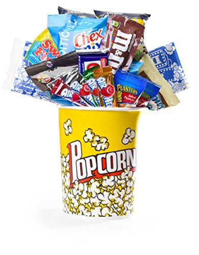 Coco Mill Movie Night Popcorn, Candy, Chocolate & Snack Variety Gift Bucket- Perfect Gift for Birthdays, Friends, Thinking of You, Thank you- Includes, M&M's, Planters, Airheads, and much more!