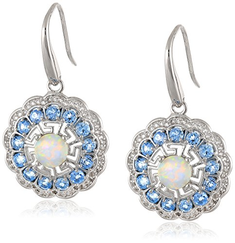 Rhodium Plated Sterling Silver Round Created Opal Swiss Blue Topaz and Created White Sapphire Dangle Earrings