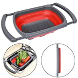 Qimh Colander collapsible, Colander Strainer Over The Sink Vegtable/Fruit Colanders Strainers With Extendable Handles, Folding Strainer for Kitchen,6 Quart(Green) (red)