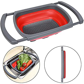 Qimh Colander Collapsible, Colander Strainer, Over The Sink Vegtable/Fruit  Colander Strainer With