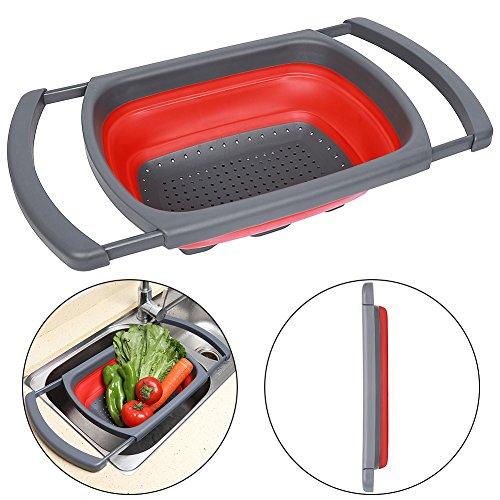 Qimh Colander Collapsible, Colander Strainer, Over The Sink Vegtable/Fruit Colander Strainer With Extendable Handles, Folding Strainer for Kitchen,6 Quart(RED)