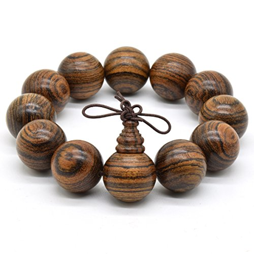 Rel Goods Men Natural Wood Tiger Stripe Sandalwood Beads Link Necklace Fashion Bracelet Boutique Elegant Prayer Bead (20mm12)