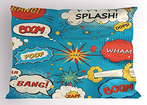 (Ambesonne Superhero Pillow Sham, Pop Art Style Comic Speech Bubbles Funny Humor Expressions Boom Splash Bang, Decorative Standard Size Printed Pillowcase, 26 X 20 Inches, Blue Cream Red)