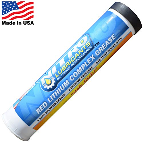 Nitro Lubricants Tacky Red Lithium Complex Tube Grease for Grease Guns (1 Tube 14 Ounces) - Heavy Duty Automotive and Industrial Grease - Grease for Marine ()