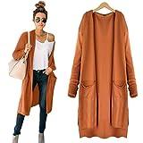 Hemlock Long Cardigan Coat Women, Pockets Sweater Ladies Knitting Cotton Cardigan Jacket Outerwear (XL, Orange)