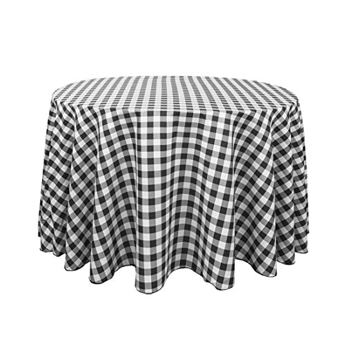LinenTablecloth 108 in. Round Polyester Tablecloth Black & White Checkered -