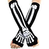 ECOSCO New Black Punk Gothic Dark Rock Skeleton Long Arm Warmer Fingerless Gloves