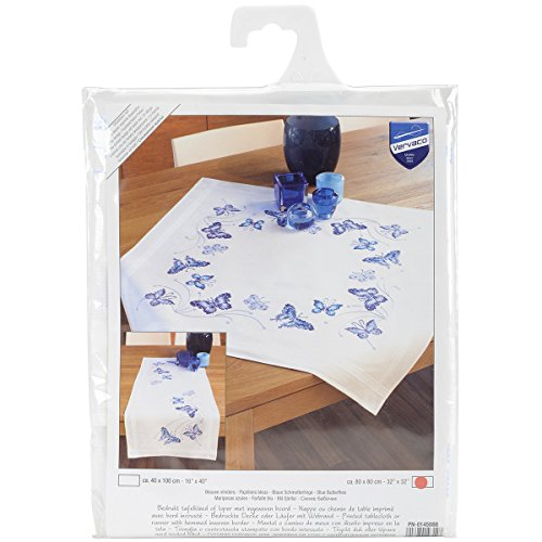 (Vervaco Blue Butterflies Tablecloth Stamped Embroidery Kit, 32