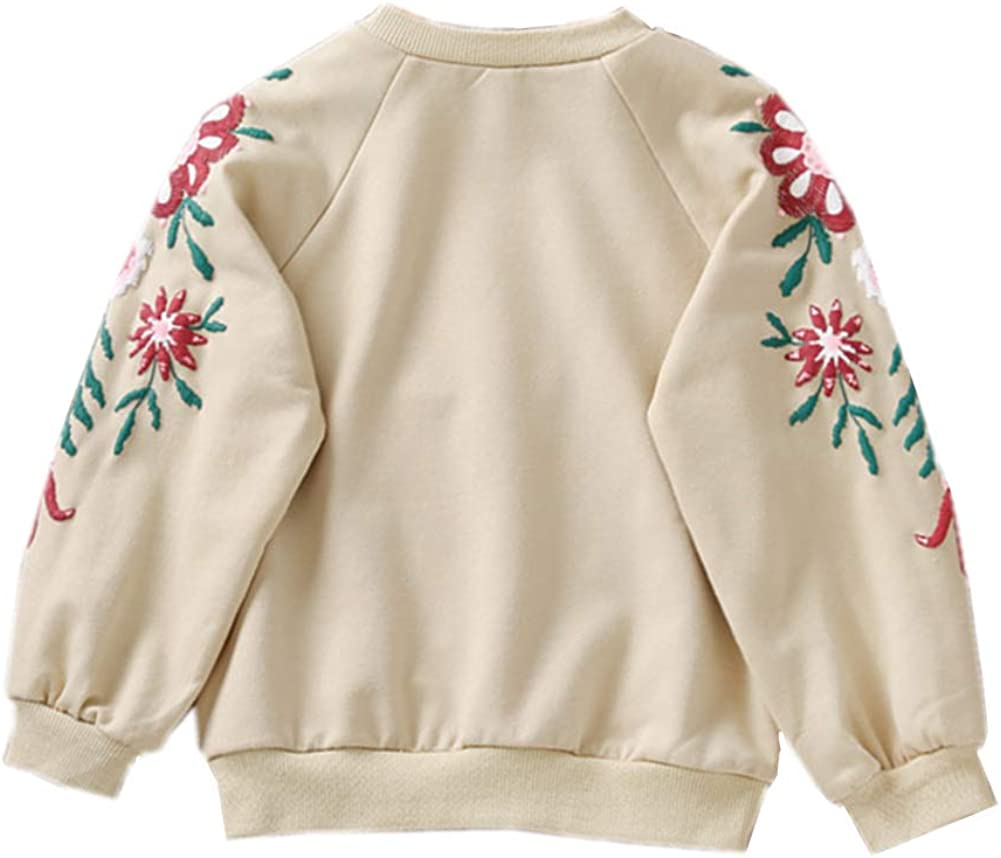 Toddler Baby Girls Pullover Sweater Kid Flower Print Sweatshirt Autumn Spring 2-8T