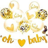 Baby Shower Decorations Neutral Decor Strung Banner (OH Baby) & 9PC Balloons w/Ribbon [Gold, Confetti, White] Kit Set | Hang on Wall | Glitter Unisex Pregnancy Announcement Gender Reveal Party 2018