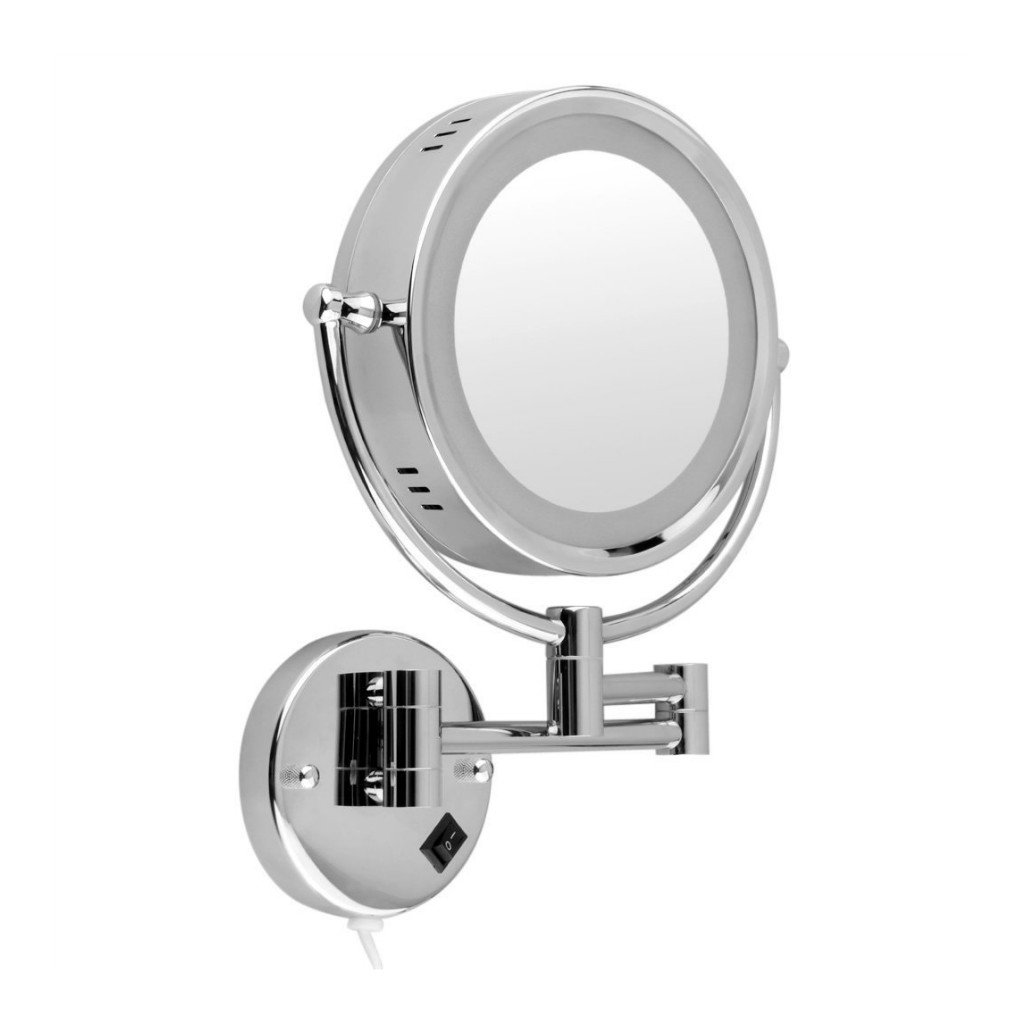 Homyl Metal Double Sided LED Light Wall Mount Mirror Makeup Shaving 3X 5X 7X Rotatable and Adjustable - Chrome, 7x Magnification by Homyl (Image #1)