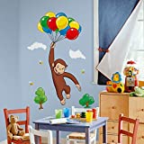MN 10 Piece Kids Brown Blue Green White Curious George Wall Decals Set, Cartoon Themed Wall Stickers Peel Stick, Fun Monkey TV Animated Balloons Bees Clouds Decorative Graphic Mural Art, Vinyl
