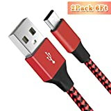 Micro USB Cable 6FT Pack of 2 BUDGET & GOOD® Data Sync Charging USB Cable Durable High Speed Android Phone Charger Cable for Samsung S5 Neo HTC Motorola LG Sony Mobile Phones Tablets - Reddish Black