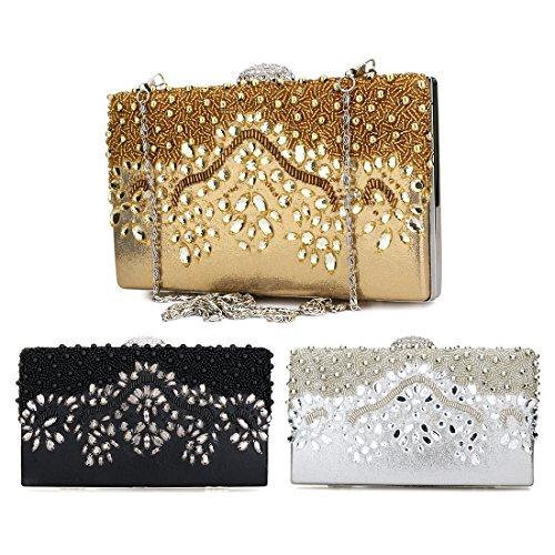 Wedding Case Rhinestone Purses Hard Silver Prom Clutches Women Bags Diamanté Party Evening 6aFwfq
