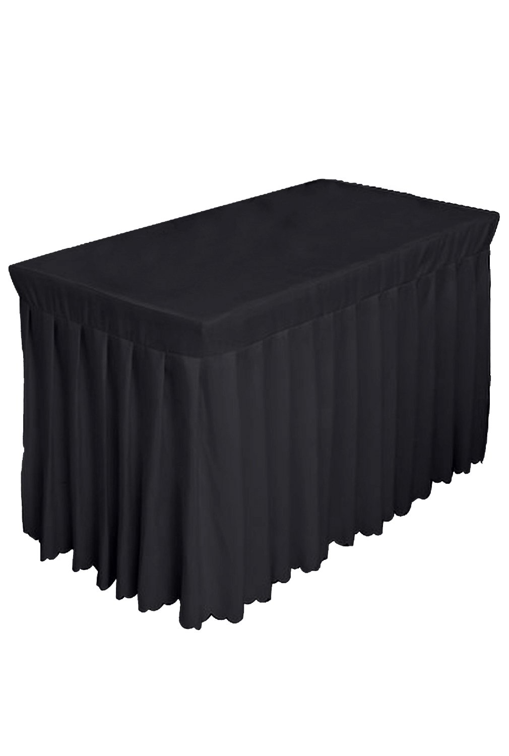 Tina 6' ft Polyester Fitted Tablecloth Table Skirt for Wedding Banquet Trade Show Black by Tina's