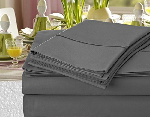 Addy Home Hotel Collection Luxury 1000 Thread Count 100% Egyptian Cotton Sateen Weave Deep Pocket Sheet Set, (Queen, Charcoal)