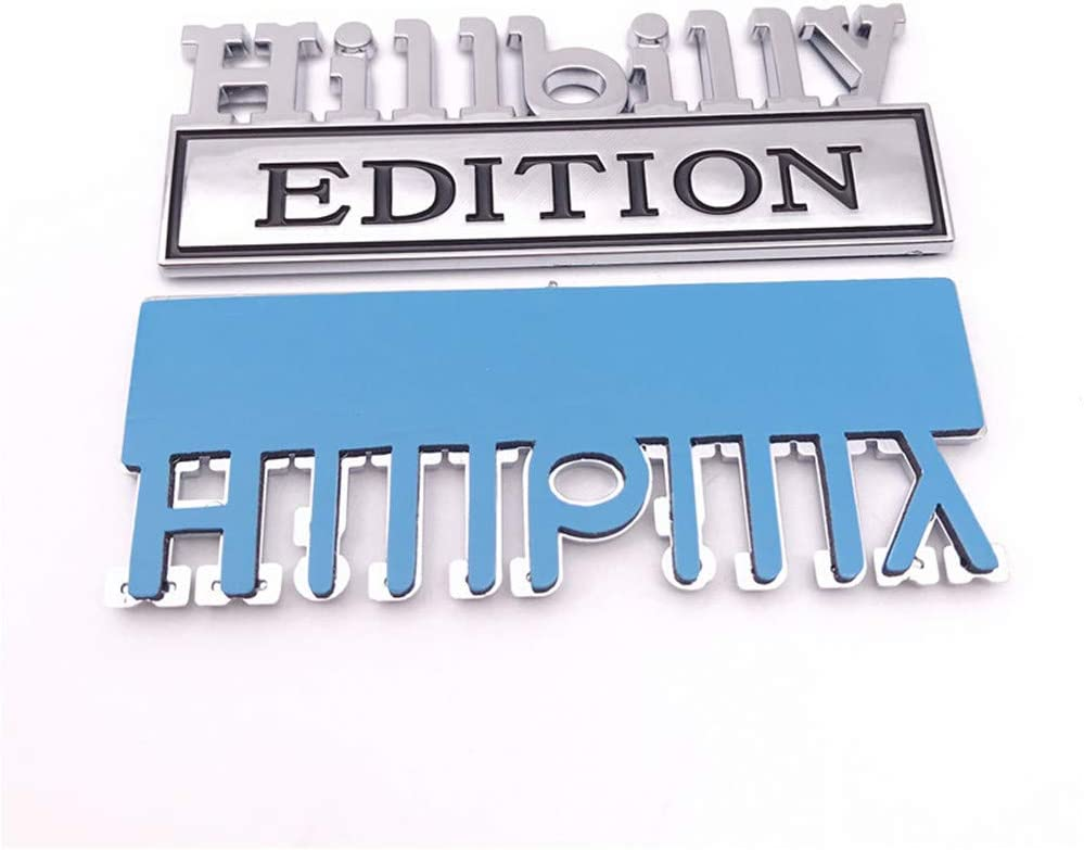 1PC Chrome Word Hillbilly Edition 3D Letter Emblem Badge Sticker Decal for GMC Chevy Car Truck JLM1821152
