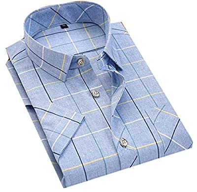 ARRIVE GUIDE Mens Classic Short Sleeve Plaid No-iron Button Down Shirts