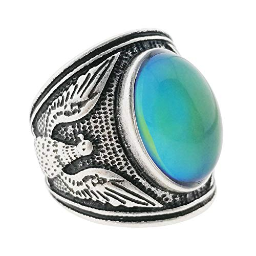 MOJO JEWELRY Mood Ring Changing Color for Adults Eagle Mens Ring Antique Sterling Silver Vintage Statement Rings (10)