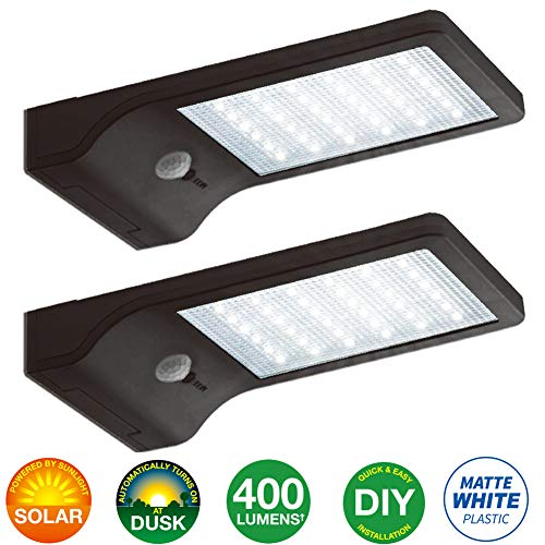 Bonashi LED Solar Motion Sensor Light Outdoor 2 Pack, Security Motion Activated Wall Lights with Mounting Poles for Gutter Patio Garden Path, Waterproof Cordless Exterior Foodlights