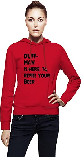DUFF- MAN is here, to refill your Beer Womens Hoodie X-Large: Amazon.es: Ropa y accesorios